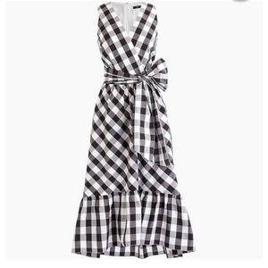 J Crew Gingham Cotton Poplin Faux Wrap Dress BNWT